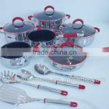 2013 New Products 14pcs High Quality 18/8 Stainless Steel Cookware Set With Kitchen Tools For Wholesale
