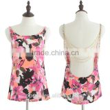 Top quality new arrival fashion women product sexy chiffon beaded backless chain ladies top