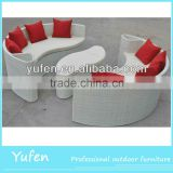 3pcs half-moon wicker modern sofa bed
