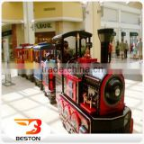 Beston kids ride fiberglass electric trackless diesel road train Indoor Playground electric trains