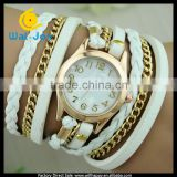 WJ-2741 Vintage retro ladies long chian PU leather analog girls bracelet watch