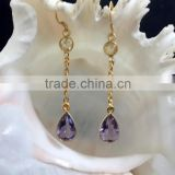 Amethyst Vermeil Designer Sterling Silver Earrings,Gold Polished 925 Sterling Silver Jewelry,Designer Earrings Fashion Jewelry