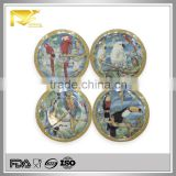 home decor 8 '' round birds custom ceramic plates, decorative grape plates, custom printed ceramic plate