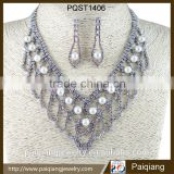 New arrival high quality wedding bridal bling jewelry sets with rhinestone and imitation pearl