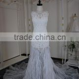 (JBH2016-18) MARRY YOU Sew On Crystal Beads With Feather Skirt Wedding Dress Lace