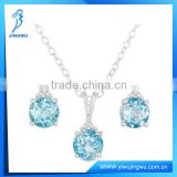 Blue Topaz Diamond 925 Silver Stud Earrings and Necklace Set