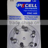 Free Mercury Non-Mercury Hearing aid battery 1.4v zinc air button cell battery A10 from PKCELL