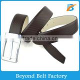 Beyond Man's 3.5cm Wide Coffee Embossed Pattern Genuine Leather Belt with Polished Pin Buckle