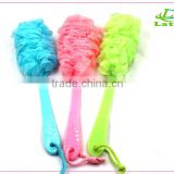 Bath Shower Ball with Flower Shaped/ PE Mesh Bath Sponge with long handle