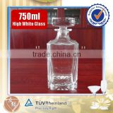 whisky 750ml bulk glass decanter wholesale with lid low MOQ                                                                         Quality Choice
