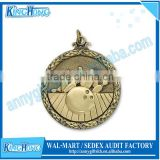 Antique gold plated 3D bowling sports award medal