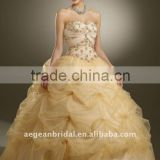 Top strapless sweetheart neckline organza ball gown quinceanera dress with beaded bodice XZ-pd1248