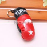 wholesale hot sell PVC leather Turkey flag boxing glove keychain/national flag boxing glove keyring