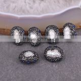 Natural Freshwater Pearl Beads, Pave Crystal Zircon Beads, Egg shape Gem Connector Beads For Jewelry Making
