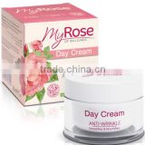 Day Cream Anti-Wrinkle Normal to Dry Skin Bulgarian Rosa Damascena Extract - 50ml. Paraben Free. Made in EU. Private Label