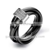 New Women's Black Ceramic Wedding Band Ring Sets with Diamond Inlay