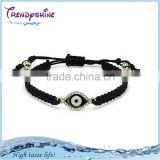Fashion women's black knitted bracelet with evil eye charm