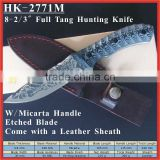 "(PK-2771M) 8-2/3"" Micarta Handle Etching Drawing Blade Full Tang Straight Military Tactical Hunting Knife"