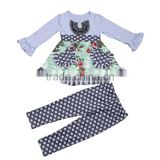 2017 Yawoo floral patterns tunic dress match polka dots leggings smocked children clothing wholesale
