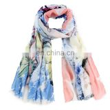 2016 Scarf factory china butterfly print scarf fashion brand new 100% polyester scarves