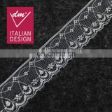Embroidery elegant print sivler flower lace for ladies dress