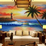 European oil painting 3D large mural wallpaper seaside view wall paper abstract landscape wall cloth for TV Sofa background decor