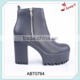 Fashion western high ankle military quality double zipper dance boots with high platform