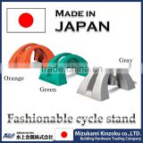 Plastic bicycle rack made in Japan with excellent design to prevent from falling down by wind and cintact
