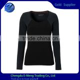 Wholesale 100 Cotton High Quality Plain Black Long Sleeves Woman T-shirt