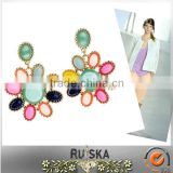 Golden Plating Flower Glass Beads Mixed Colors Earrings