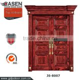 The latest china classic design rose natural veneer exterior door painting type double solid wooden front doors