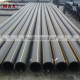 Black color polyethylene underground gas pipe with yellow strip