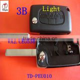 Tongda 3 button with light button flip remote key shell CE0536 with grove for Peugeot.Citroen
