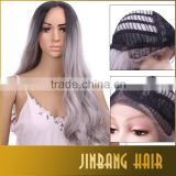 2016 hot sale Synthetic Long Gray Wigs for Black Women Cosplay 1B Ombre Silver Grey Lace Front Wigs Middle Part 24inch