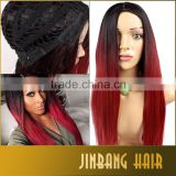Black Burgundy Ombre Long Straight Lolita Cosplay Wig For Fashion