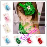 Latest Hot Selling Baby Beautiful Bow Cotton Artificial Flower Girl Headband