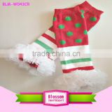 2015 Wholesale Fashion Baby Cotton Legwarmer Green/White/Red Baby Christmas Legwarmer With Chiffon Ruffle
