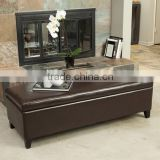 Bonded Leather Brown Storage Ottoman Bench OT-756
