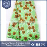 Green african heavy swiss lace wholesale cheap top one sale stock lot flower design austrian cotton voile lace for 2016