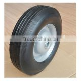 10x2.75 inch semi pneumatic rubber wheel with rib tread and silver iron rim for material handling equipment