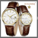 FS FLOWER - Good Genuine Leather Couple Watches Father and Mothers Day Gifts