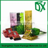 BK01 Wholesale Price Manufacturer In China Heat Seal Aluminum Foil Materials Side Gusset Green Empty Tea Bag Pouch Packaging