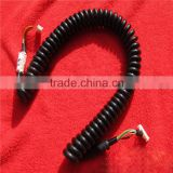 High flex coiled power cord with terminal at the end of the cable
