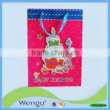 Fancy design vertical birthday gift paper bag with ribbon bow tie for packaging made in china