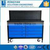 blue roller metal drawer cabinet table to storage tools