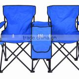 Two seats folding camping double chair with middle table cooler bag