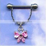 316L Flower Shaped Dangle Nipple Ring Nipple Bars Body Piercing Jewelry