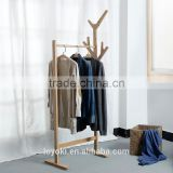 new design Solid beech Wood Coat Rack Hat Purse Display Stand with shoe bench entry way coat rack