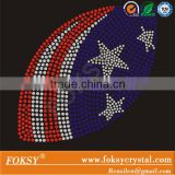 American football rhinestone transfer, football rhinestone transfer iron on american flag for tshirt wholesale price