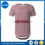 Long T shirt Men Blank Pattern with Fashion Red Stripe and Round Hem